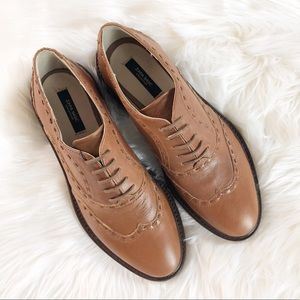 NWT Zara women's wing tip leather shoes